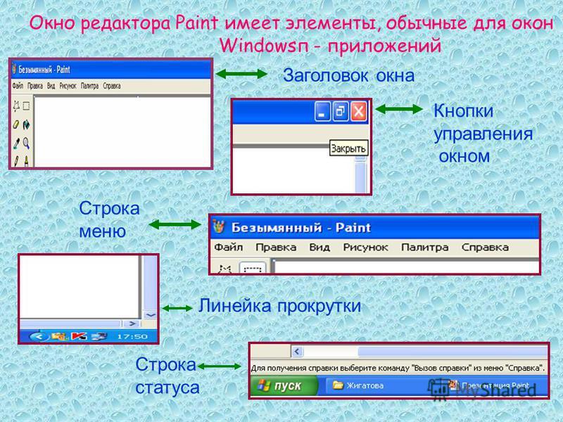Окно редактора Paint имеет элементы, обычные для окон Windowsп - приложений Заголовок окна Кнопки управления окном Строка меню Линейка прокрутки Строка статуса