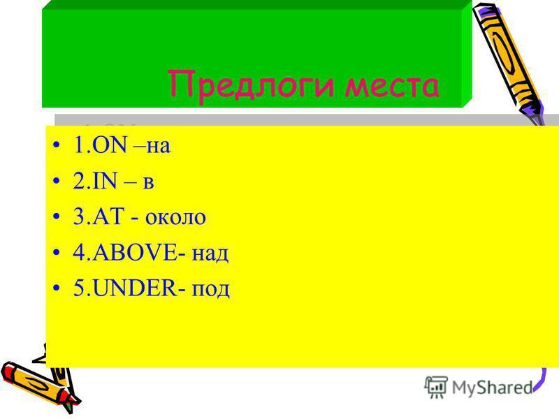 Предлоги места 1. ON –на 2. IN – в 3. AT - около 4.ABOVE- над 5.UNDER- под 1. ON –на 2. IN – в 3. AT - около 4.ABOVE- над 5.UNDER- под