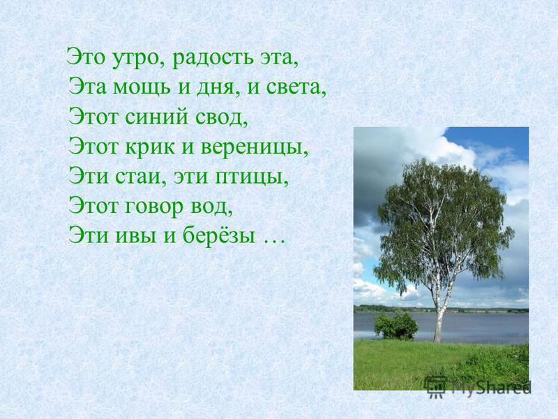 Это утро, радость эта, Эта мощь и дня, и света, Этот синий свод, Этот крик и вереницы, Эти стаи, эти птицы, Этот говор вод, Эти ивы и берёзы …