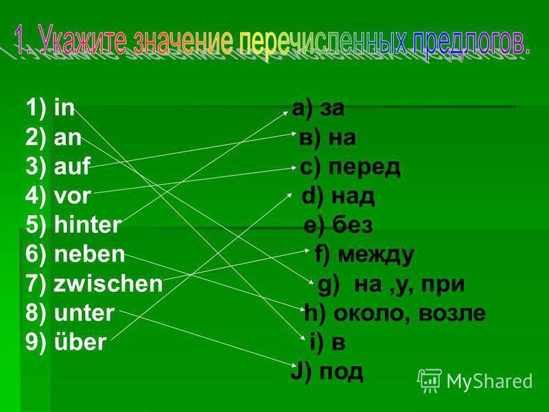 1) in a) за 2) an в) на 3) auf с) перед 4) vor d) над 5) hinter e) без 6) neben f) между 7) zwischen g) на,у, при 8) unter h) около, возле 9) über i) в J) под