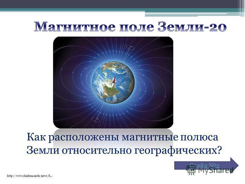 http://www.chudesa.mobi/news/8… Как расположены магнитные полюса Земли относительно географических? Слайд 2