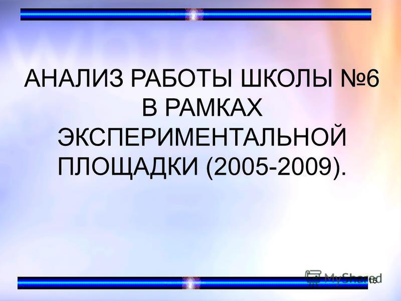 16 АНАЛИЗ РАБОТЫ ШКОЛЫ 6 В РАМКАХ ЭКСПЕРИМЕНТАЛЬНОЙ ПЛОЩАДКИ (2005-2009).