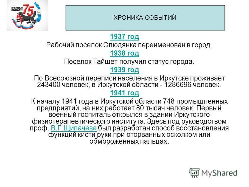 1937 год Рабочий поселок Слюдянка переименован в город. 1938 год Поселок Тайшет получил статус города. 1939 год По Всесоюзной переписи населения в Иркутске проживает 243400 человек, в Иркутской области - 1286696 человек. 1941 год К началу 1941 года в