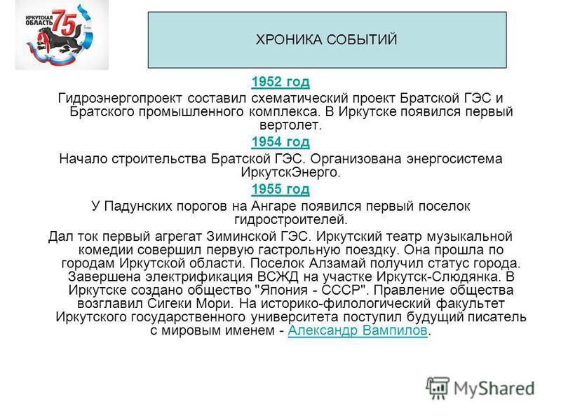 1952 год Гидроэнергопроект составил схематический проект Братской ГЭС и Братского промышленного комплекса. В Иркутске появился первый вертолет. 1954 год Начало строительства Братской ГЭС. Организована энергосистема Иркутск Энерго. 1955 год У Падунски