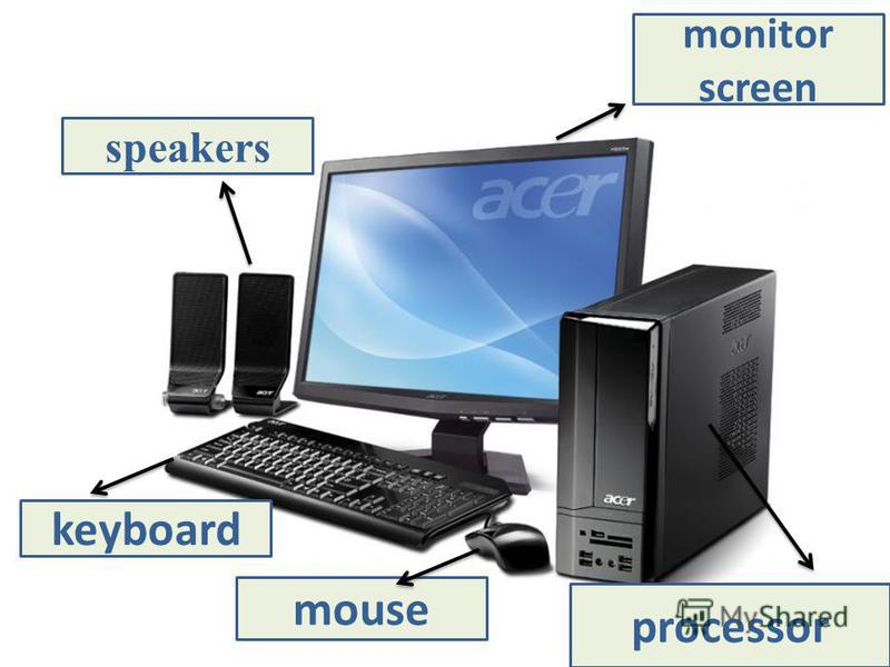 monitor screen speakers mouse keyboard processor