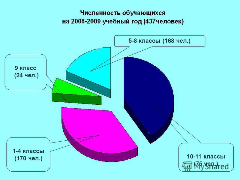 5-8 классы (168 чел.) 9 класс (24 чел.) 10-11 классы (75 чел.) 1-4 классы (170 чел.)