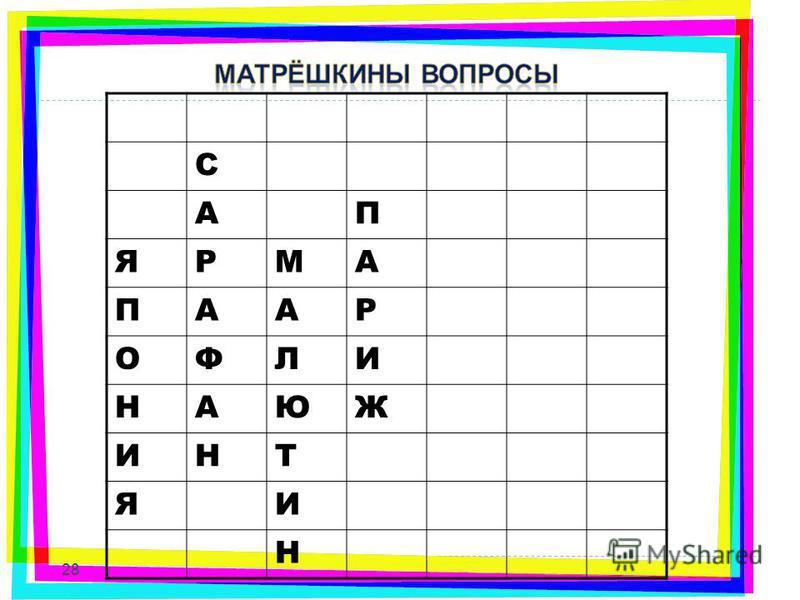 С АП ЯРМА ПААР ОФЛИ НАЮЖ ИНТ ЯИ Н 28