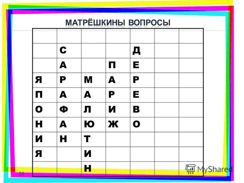СД АПЕ ЯРМАР ПААРЕ ОФЛИВ НАЮЖО ИНТ ЯИ Н 29