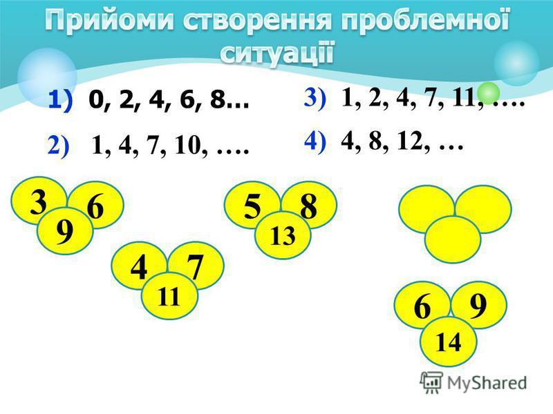 1) 0, 2, 4, 6, 8… 2) 1, 4, 7, 10, …. 3) 1, 2, 4, 7, 11, …. 4) 4, 8, 12, … 3 6 9 47 11 58 13 69 14