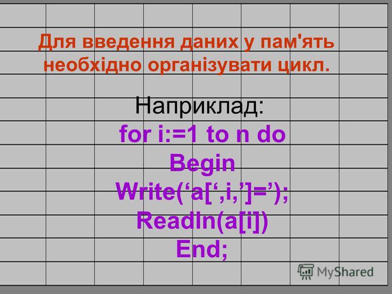 Для введення даних у пам'ять необхідно організувати цикл. Наприклад: for i:=1 to n do Begin Write(a[,i,]=); Readln(a[i]) End;