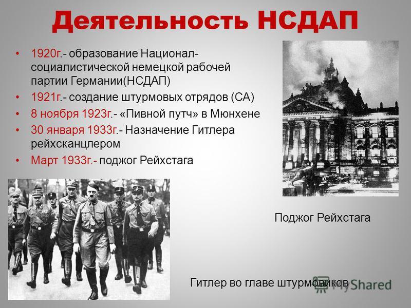 Поджог Рейхстага Деятельность НСДАП 1920 г.- образование Национал- социалистической немецкой рабочей партии Германии(НСДАП) 1921 г.- создание штурмовых отрядов (СА) 8 ноября 1923 г.- «Пивной путч» в Мюнхене 30 января 1933 г.- Назначение Гитлера рейхс