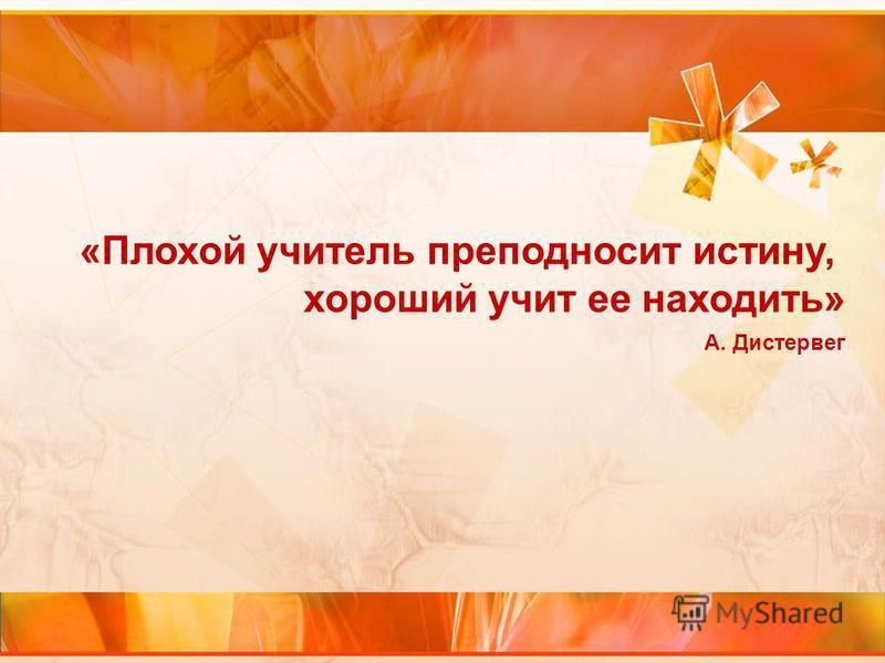 «Плохой учитель преподносит истину, хороший учит ее находить» А. Дистервег