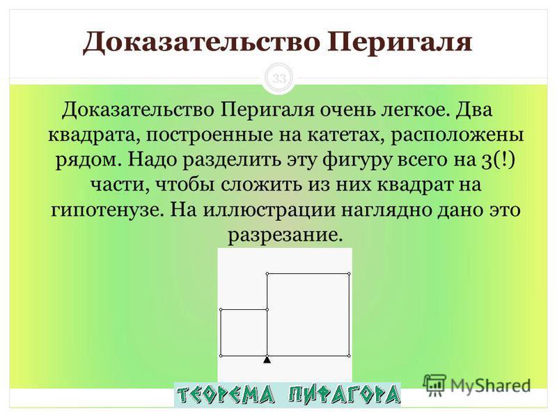 Доказательство Перигаля Доказательство Перигаля очень легкое. Два квадрата, построенные на катетах, расположены рядом. Надо разделить эту фигуру всего на 3(!) части, чтобы сложить из них квадрат на гипотенузе. На иллюстрации наглядно дано это разреза