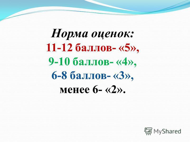 Норма оценок: 11-12 баллов- «5», 9-10 баллов- «4», 6-8 баллов- «3», менее 6- «2».
