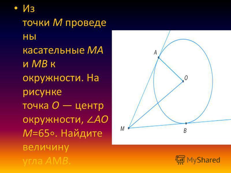 Из точки M проведены касательные MA и MB к окружности. На рисунке точка O центр окружности, AO M=65. Найдите величину угла AМB.
