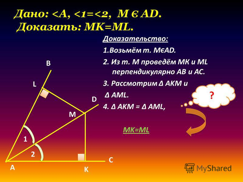 Дано: <A, <1=<2, M Є AD. Доказать: MK=ML. Доказательство: 1.Возьмём т. М Є AD. 2. Из т. М проведём МК и ML перпендикулярно AB и AC. 3. Рассмотрим Δ AKM и Δ AML. 4. Δ AKM = Δ AML, MK=ML ? А L K B C M D 2 1