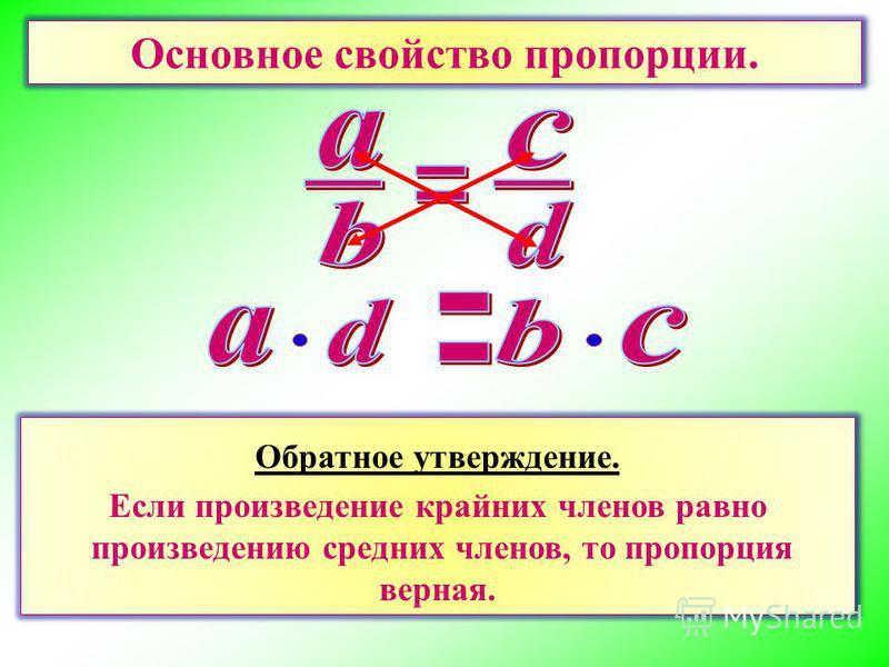 Основное свойство пропорции. Произведение крайних членов пропорции равно произведению средних членов пропорции. Обратное утверждение. Если произведение крайних членов равно произведению средних членов, то пропорция верная. Обратное утверждение. Если