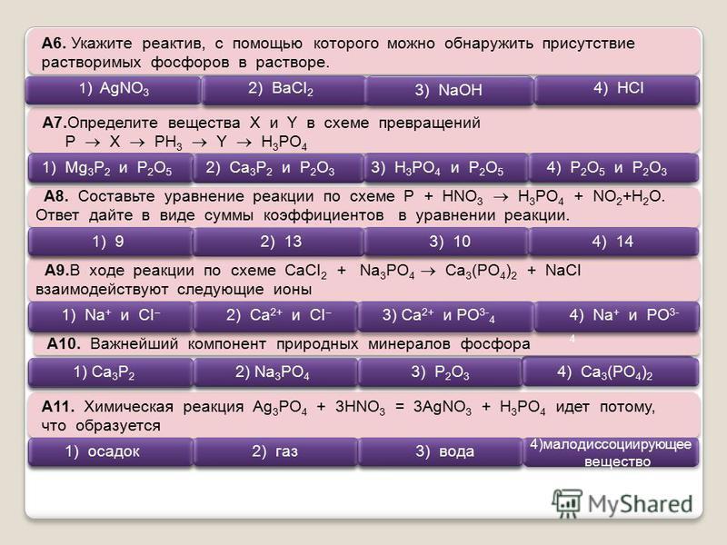А6. Укажите реактив, с помощью которого можно обнаружить присутствие растворимых фосфоров в растворе. А7. Определите вещества Х и Y в схеме превращений P X PH 3 Y H 3 PO 4 A8. Составьте уравнение реакции по схеме Р + HNO 3 H 3 PO 4 + NO 2 +H 2 O. Отв