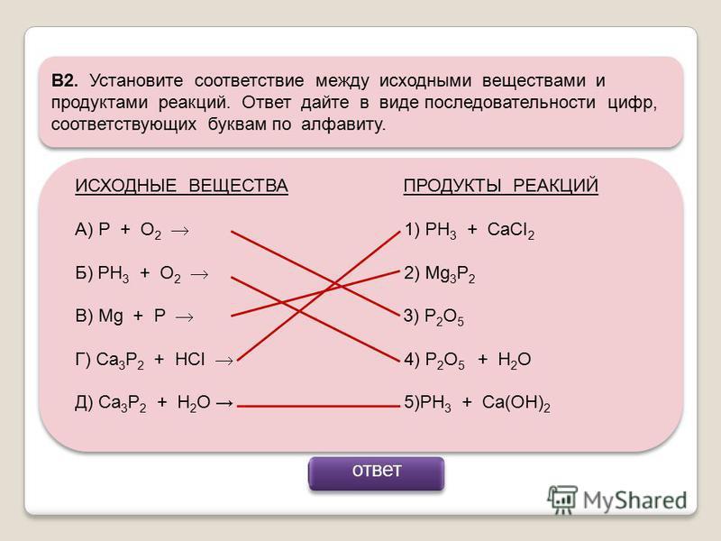 В2. Установите соответствие между исходными веществами и продуктами реакций. Ответ дайте в виде последовательности цифр, соответствующих буквам по алфавиту. ИСХОДНЫЕ ВЕЩЕСТВА ПРОДУКТЫ РЕАКЦИЙ А) P + O 2 1) PH 3 + CaCI 2 Б) PH 3 + O 2 2) Мg 3 P 2 В) M