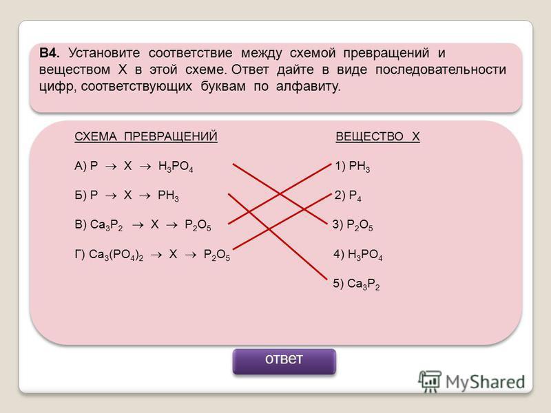В4. Установите соответствие между схемой превращений и веществом Х в этой схеме. Ответ дайте в виде последовательности цифр, соответствующих буквам по алфавиту. СХЕМА ПРЕВРАЩЕНИЙ ВЕЩЕСТВО Х А) Р Х H 3 PO 4 1) PH 3 Б) Р Х PH 3 2) P 4 В) Ca 3 P 2 X P 2