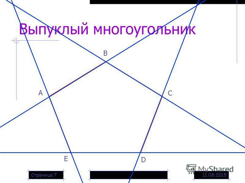 11.08.2015Страница 7 Выпуклый многоугольник А В С D Е