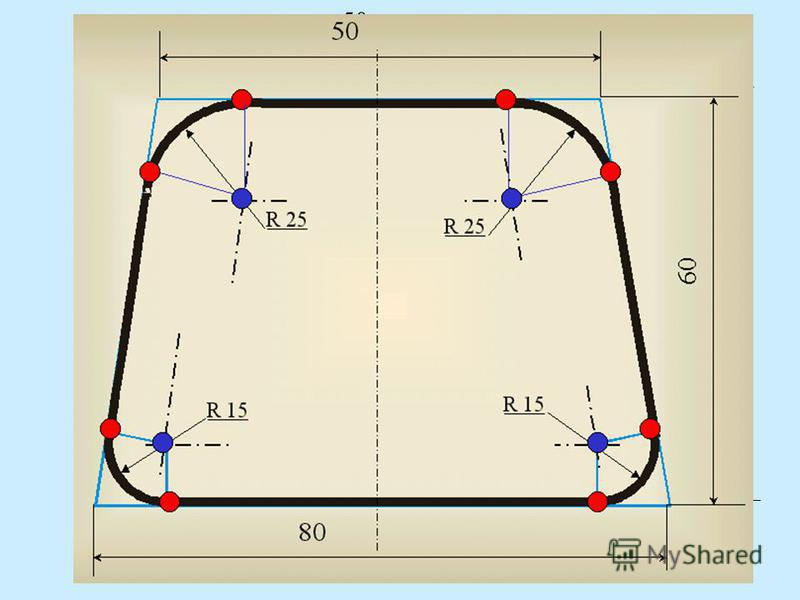 R 25 R 15 80 50 60 А теперь для закрепления материала выполним практическое задание: «Построить сопряжения в заданной фигуре». Выполняется в тетради с предварительным разбором и демонстрацией.