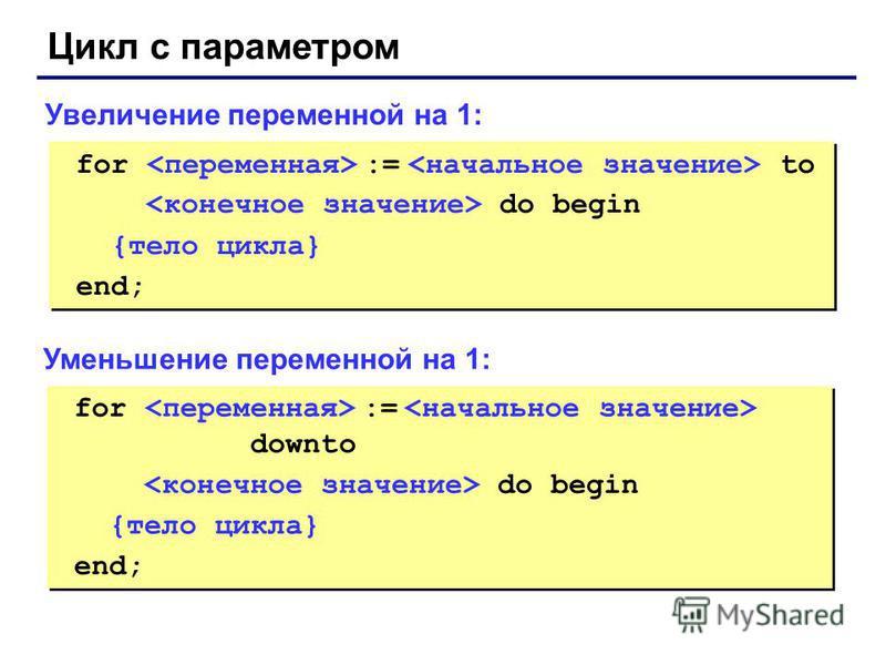 for := to do begin {тело цикла} end; for := to do begin {тело цикла} end; Увеличение переменной на 1: for := downto do begin {тело цикла} end; for := downto do begin {тело цикла} end; Уменьшение переменной на 1: