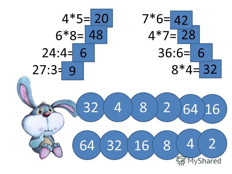 4*5= 7*6= 6*8=4*7= 24:4=36:6= 27:3=8*4= 32 6 28 42 9 20 6 48 32 1664 284 32168 42
