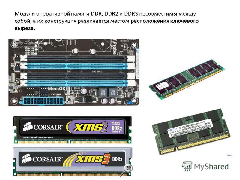 Модули оперативной памяти DDR, DDR2 и DDR3 несовместимы между собой, а их конструкция различается местом расположения ключевого выреза.