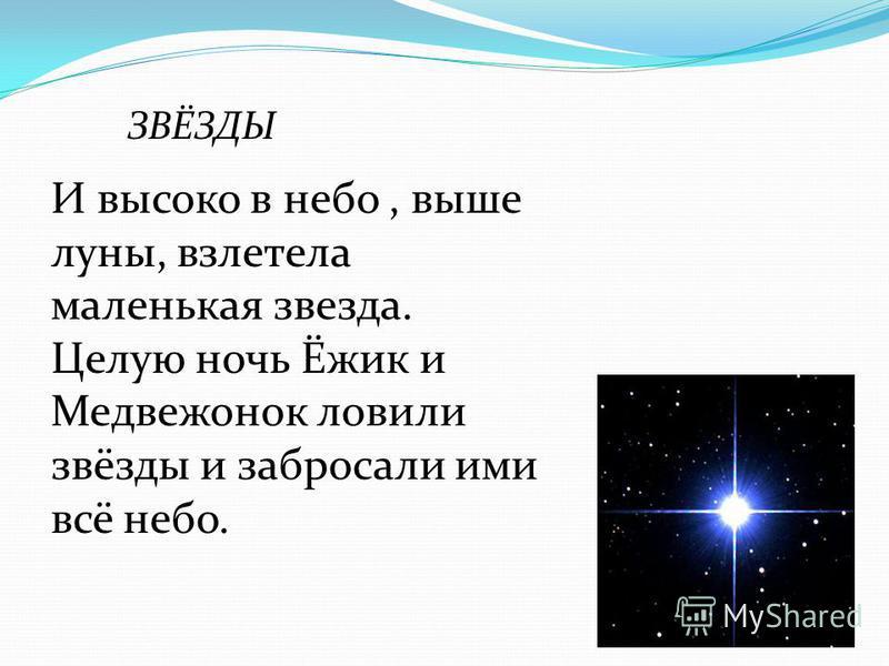 ЗВЁЗДЫ И высоко в небо, выше луны, взлетела маленькая звезда. Целую ночь Ёжик и Медвежонок ловили звёзды и забросали ими всё небо.