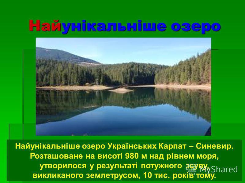 Найунікальніше озеро Найунікальніше озеро Українських Карпат – Синевир. Розташоване на висоті 980 м над рівнем моря, утворилося у результаті потужного зсуву, викликаного землетрусом, 10 тис. років тому.