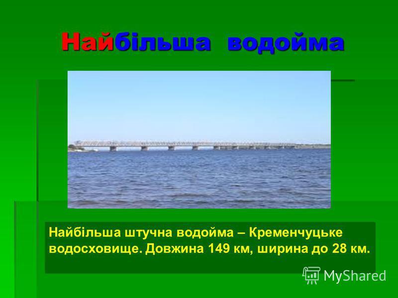Найбільша водойма Найбільша штучна водойма – Кременчуцьке водосховище. Довжина 149 км, ширина до 28 км.