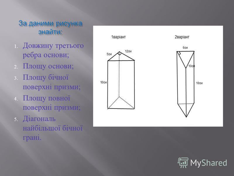 За даними рисунка знайти : 1. Довжину третього ребра основи ; 2. Площу основи ; 3. Площу бічної поверхні призми ; 4. Площу повної поверхні призми ; 5. Діагональ найбільшої бічної грані.