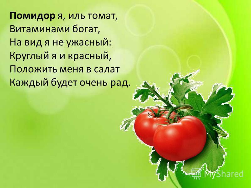 Помидор я, иль томат, Витаминами богат, На вид я не ужасный: Круглый я и красный, Положить меня в салат Каждый будет очень рад.