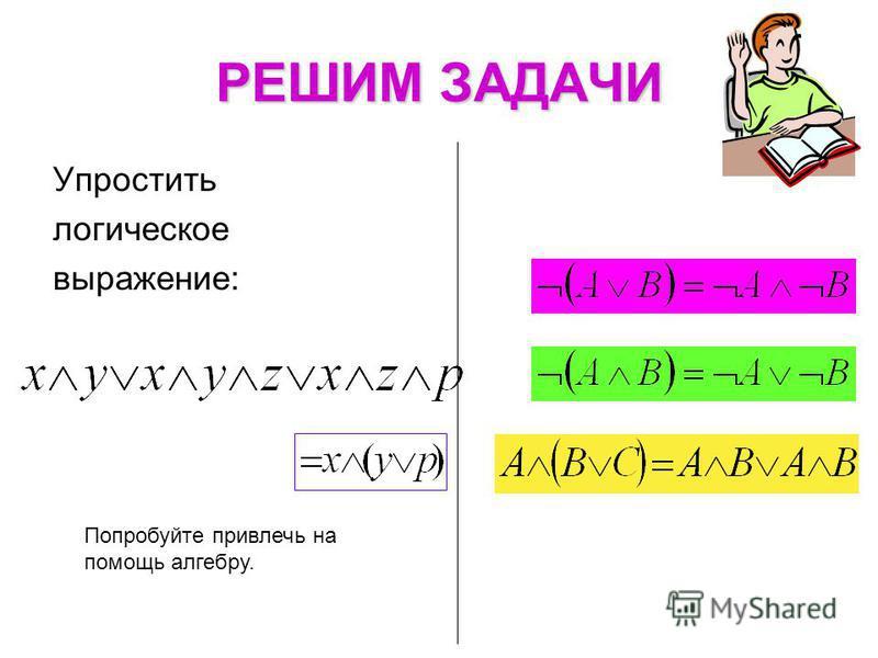 РЕШИМ ЗАДАЧИ Попробуйте привлечь на помощь алгебру. Упростить логическое выражение: