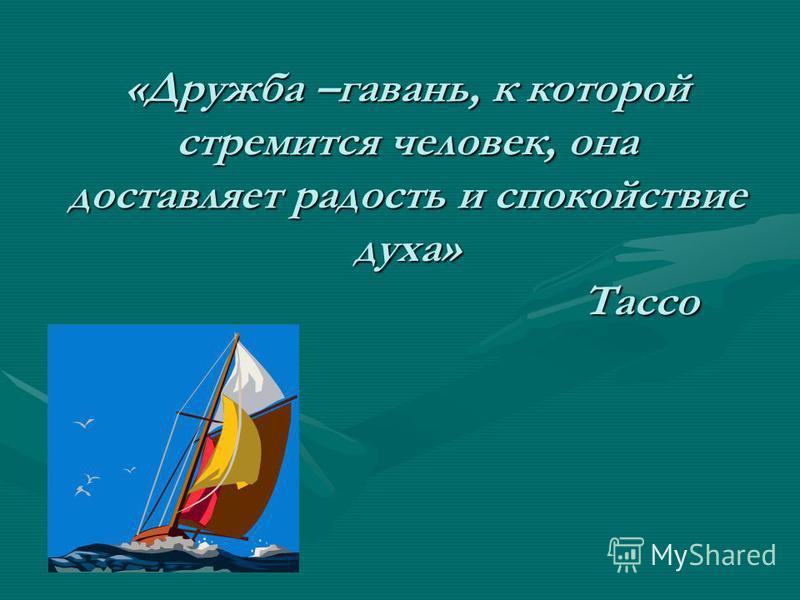 «Дружба –гавань, к которой стремится человек, она доставляет радость и спокойствие духа» Тассо