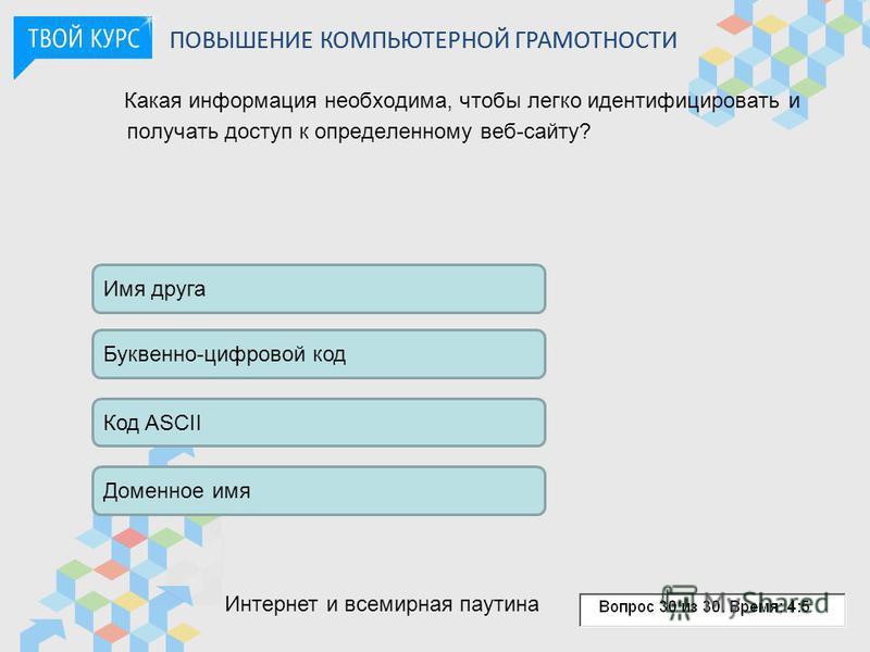 Какая информация необходима, чтобы легко идентифицировать и получать доступ к определенному веб-сайту? Имя друга Буквенно-цифровой код Доменное имя Код ASCII ПОВЫШЕНИЕ КОМПЬЮТЕРНОЙ ГРАМОТНОСТИ Интернет и всемирная паутина