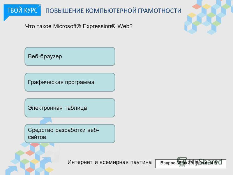 Что такое Microsoft® Expression® Web? Веб-браузер Графическая программа Электронная таблица Средство разработки веб- сайтов ПОВЫШЕНИЕ КОМПЬЮТЕРНОЙ ГРАМОТНОСТИ Интернет и всемирная паутина
