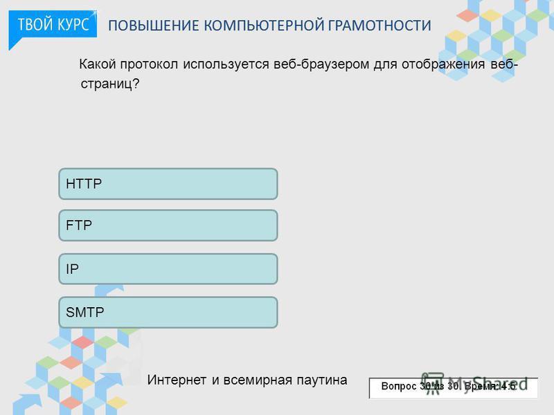 Какой протокол используется веб-браузером для отображения веб- страниц? HTTP FTP SMTP IP ПОВЫШЕНИЕ КОМПЬЮТЕРНОЙ ГРАМОТНОСТИ Интернет и всемирная паутина