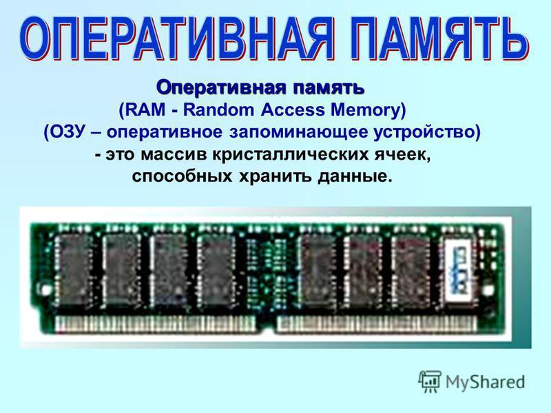 Оперативная память (RAM - Random Access Memory) (ОЗУ – оперативное запоминающее устройство) - это массив кристаллических ячеек, способных хранить данные.