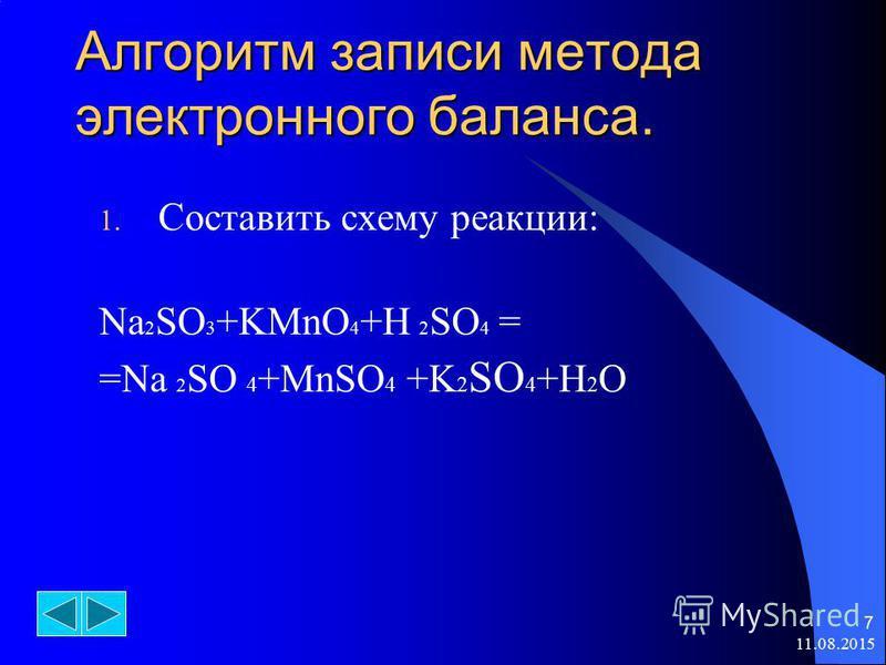 11.08.2015 7 Алгоритм записи метода электронного баланса. 1. Составить схему реакции: Na 2 SO 3 +KMnO 4 +H 2 SO 4 = =Na 2 SO 4 +MnSO 4 +K 2 SO 4 +H 2 O