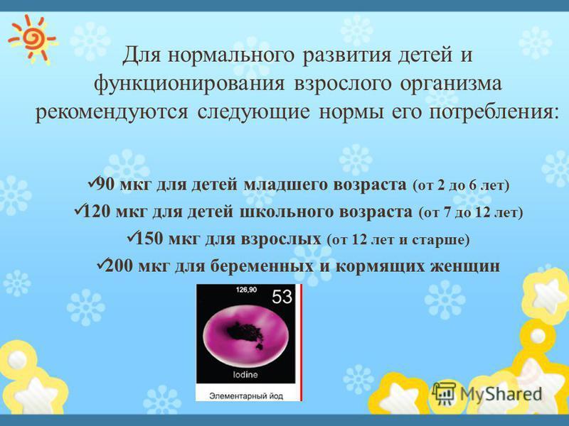 Для нормального развития детей и функционирования взрослого организма рекомендуются следующие нормы его потребления: 90 мкг для детей младшего возраста (от 2 до 6 лет) 120 мкг для детей школьного возраста (от 7 до 12 лет) 150 мкг для взрослых (от 12
