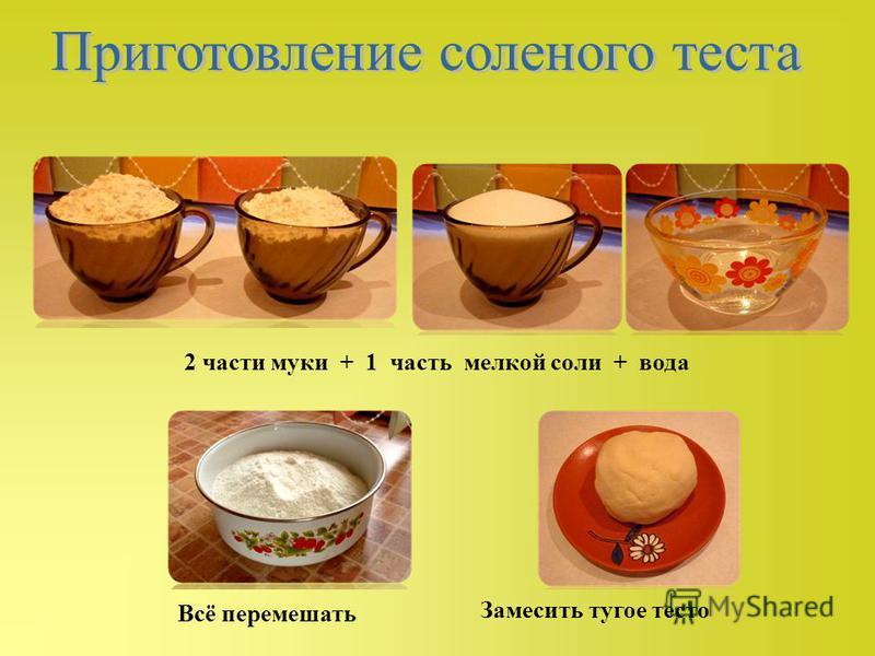 2 части муки + 1 часть мелкой соли + вода Всё перемешать Замесить тугое тесто