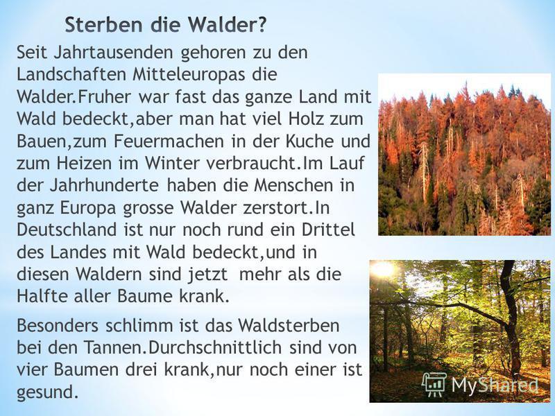 Seit Jahrtausenden gehoren zu den Landschaften Mitteleuropas die Walder.Fruher war fast das ganze Land mit Wald bedeckt,aber man hat viel Holz zum Bauen,zum Feuermachen in der Kuche und zum Heizen im Winter verbraucht.Im Lauf der Jahrhunderte haben d