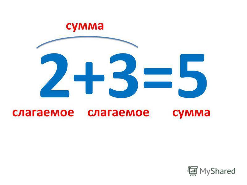 2+3=5 слагаемое сумма