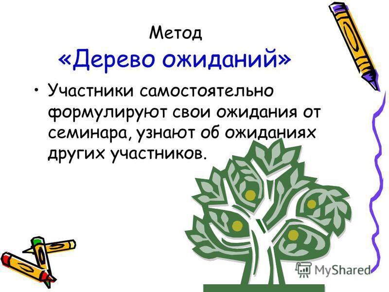Метод «Дерево ожиданий» Участники самостоятельно формулируют свои ожидания от семинара, узнают об ожиданиях других участников.