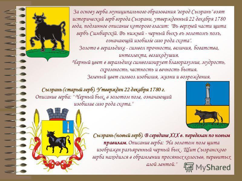 Сызрань (старый герб). Утвержден 22 декабря 1780 г. Описание герба: