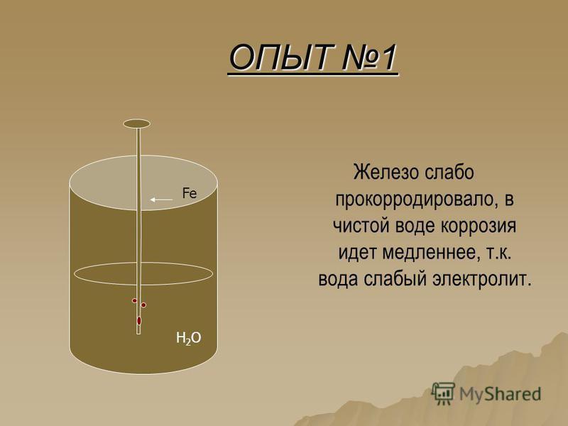 ОПЫТ 1 Железо слабо прокорродировало, в чистой воде коррозия идет медленнее, т.к. вода слабый электролит. H2OH2O Fe