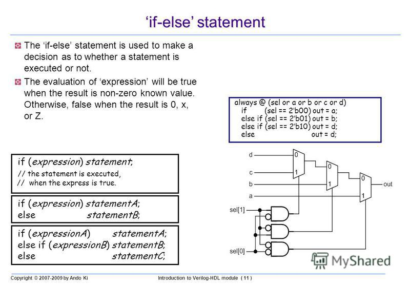 Copyright © 2007-2009 by Ando KiIntroduction to Verilog-HDL module ( 11 ) if-else statement The if-else statement is used to make a decision as to whether a statement is executed or not. The evaluation of expression will be true when the result is no