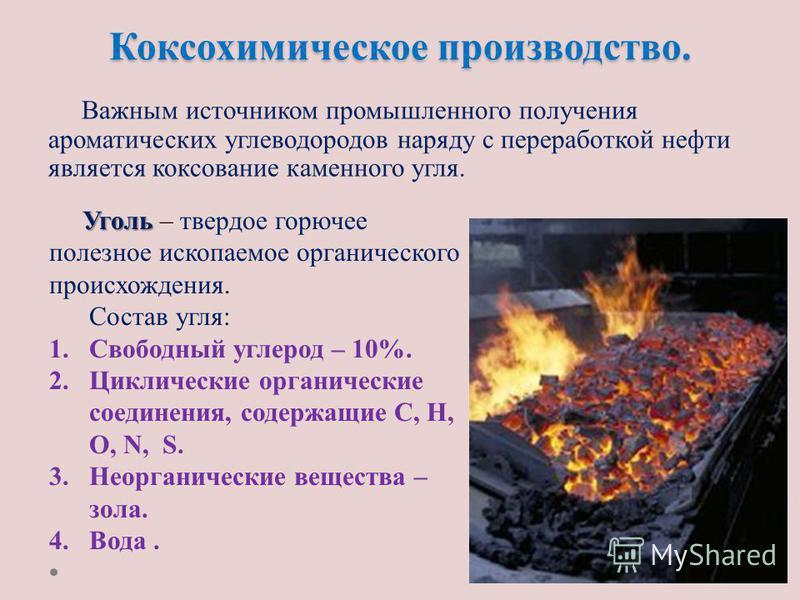 Коксохимическое производство. Важным источником промышленного получения ароматических углеводородов наряду с переработкой нефти является коксование каменного угля. Уголь Уголь – твердое горючее полезное ископаемое органического происхождения. Состав